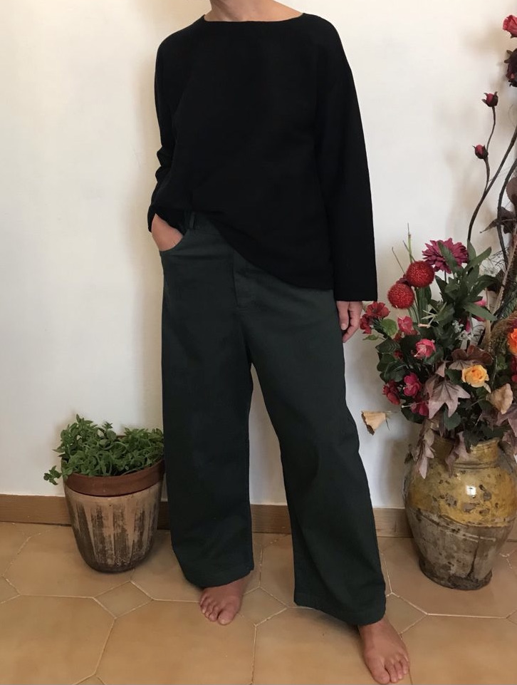 The wide-leg pants, in dark green supima cotton • by Plantation1982